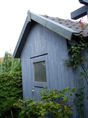 Gartenhaus taubenblau  Rehbaum Gartengestaltung-Albersloh